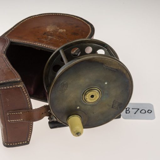 Very Rare Hardy Brass '1896' Salmon Reel in Hardy Bros Leather D Case.