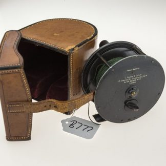 Farlows 4 1/4 inch Patent Lever Platewind reel and leather case