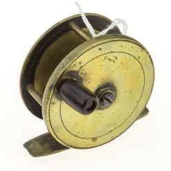 Chas Farlow and Co. Makers 191 Strand 2 3/8 inch Brass Plate Wind Fishing Reel. Fish logo. Condition B