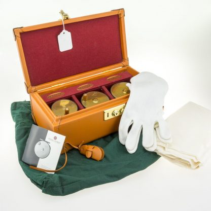 """Hardy 1902 Brass Faced Trout Limited Edition Perfect Set 2 5/8, 3"""" and 3 1/4"""" in leather presentation case."""